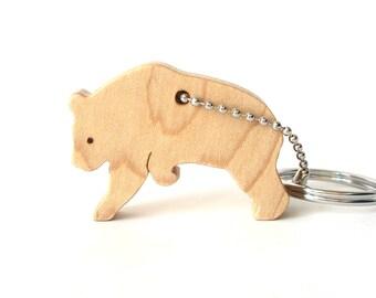 Panda Bear Key Chain Wood Scroll Saw Outline Animal Silhouette Panda Key Ring Panda Bear Key Fob Maple