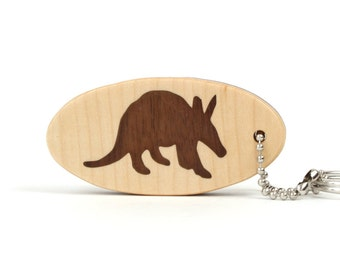 Wood Aardvark Key Chain Wooden Aardvark Key Ring Aardvark Key Fob Wood Animal Key Chain Walnut