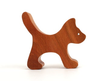 Miniature Wooden Toy Cat  Waldorf Wood  Animal Toys Small Wood Cat Figurine Childrens Small Toy Cat Cherry