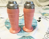 Moderntone Pink Salt Pepper Glass Depression Milk Retro Vintage Hazel Atlas