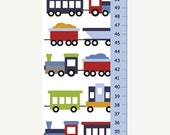 ON SALE Trains Growth Chart - kids decor