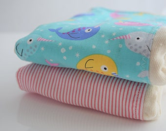 Narwhal Baby, Prefold Burp Cloth Set of Two, Embellished Prefolds, Unbleached Indian Infant Prefold,  Reduced to Move Out