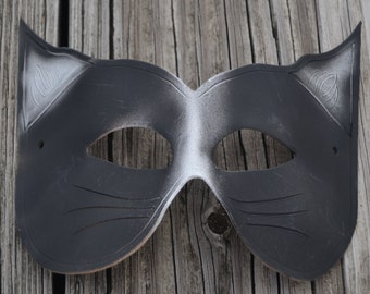 Leather black cat mask