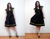 Vintage Black Cotton Deep V Plunging Sun Dress Swing Dress 50's