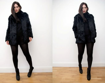 Vintage Black Real Fur Black Coat Jacket RARE AMAZING