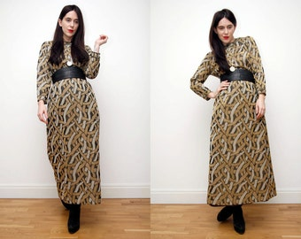 Vintage Gold Abstract Metalic Gothic Maxi Grunge Dress 70s