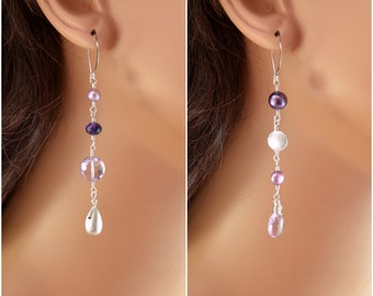 Sterling Silver Mismatched Earrings, Lavender Pink Amethyst, Real Freshwater Pearl, Unmatched, Gemstone Jewelry, Free Shipping