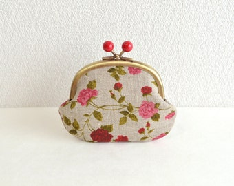 Christmas sale!  Shabby rustic floral Candy coin purse - Linen, Red, and Pink roses. French linen. Handmade in Japan. Ready to ship.