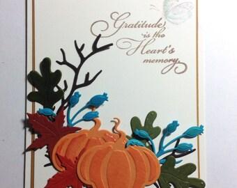 Gratitude - handmade card, Thanksgiving, butterfly