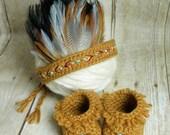 Newborn Indian Headdress and Moccasin Set