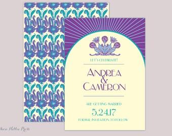 Art Deco/Art Nouveau Floral Wedding Invitation/Save the Date/Vintage/Retro