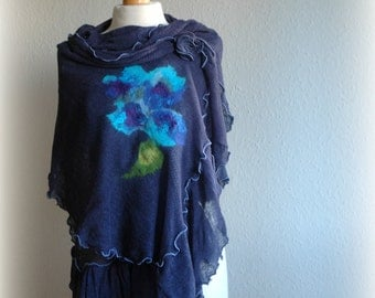 Natural Blue LINEN Shawl Unique Knitted Felt Fower Appliques-Finished Artistic Shawl Ornamental Stitch In Blue