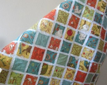 Free Shipping U.S. Only.....Mind your P's and Q's......A Fray Edge Baby/Toddler Quilt........Ready to Ship