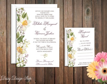 Wedding Invitation - Watercolor Lilies and Wildflowers - Customizable Colors - Invitation and RSVP Card with Envelopes