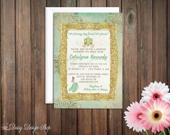 Bridal Shower Invitation -  Princess and the Frog - Tiana Damask and Frame