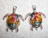 Colorful Swirl Sea Turtle charms, 2pcs