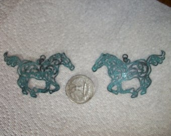 Patina Turquoise Horse Charms, 2 pcs