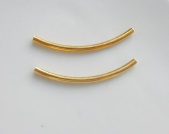 2 pcs Gold Vermeil , gold plated over sterling silver  curved  tube spacer (40x3mm)