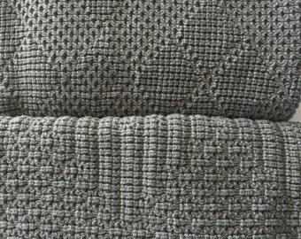 Baby Afghan,Throw Blanket, Knitted , Medium Gray