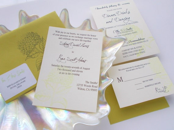 The Stormy Collection Wedding Invitation in Chartreuse - (SAMPLE No. 089)