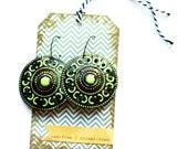 The CLARICE dangle LIGHTWEIGHT mint handpainted earrings Nickel & Lead free