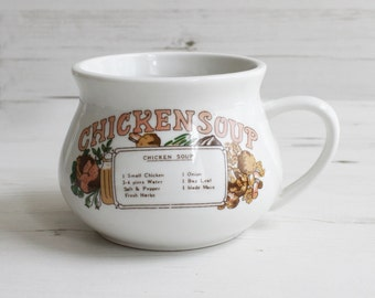 Vintage soup cup  - Kitchen mug recipe cook drink handle Large blue cooking kitchenware