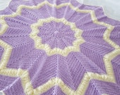 Hand crocheted lavender and cream star baby blanket, baby afghan, newborn baby shower gift