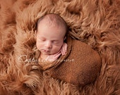 Leighton Heritage 3'x5' Camel Faux Fur Nest Newborn Photography Prop Large Oversize Layer Stuffer Long Pile Faux Flokati Rustic Organic Fall