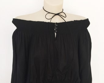 black gypsy boho off the shoulder top crop cropped top