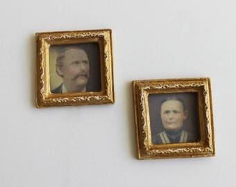 Miniature Framed Ancestor Portraits Wall Decor 1:12 Scale