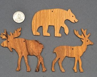 Choose 10 wood Ornaments Bear Moose Deer Squirrel Rabbit Turtle, Bison, Buffalo, Fox, Wolf, Owl, Cardinal, Humming Bird, Frog, Wen, Cat, Dog