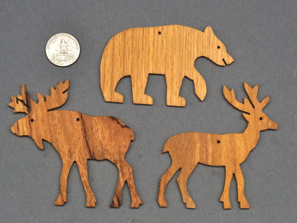 Choose wooden ornaments cutouts bear moose deer squirrel