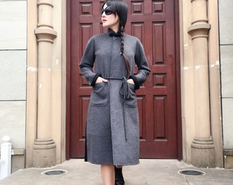 Chinese Style  Double- Faced Dark Grey and Black  Cashmere and Wool Long Jacket/ Winter Coat with Stand-up Collar / RAMIES