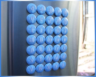 35 FROZEN Magnets. Blue Disney Typeface Font Letters. Lowercase Educational Learning Alphabet Buttons. (bv001c) lowercase metal magnets