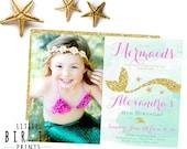 MERMAID INVITATION - Mermaid birthday invitation - Pink Gold Mermaid  Invitation Mermaid first birthday invitation Glitter Mint Pink Gold