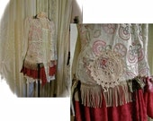 Upcycled Bohemian Shirt, button front top, cotton shirt, country boho blouse, refashioned altered clothing, hem ruffles, womens MEDIUM
