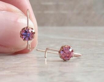Pink Rhinestone Earrings Kidney Wires Gold Tone Prong Set Vintage