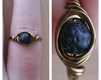 Wire Wrapped Lava Rock Ring Size 8