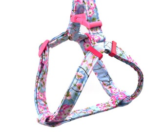 Step In Dog Harness - Spring Flowers on Blue  - Mini Small Medium Large XL Dog Harness