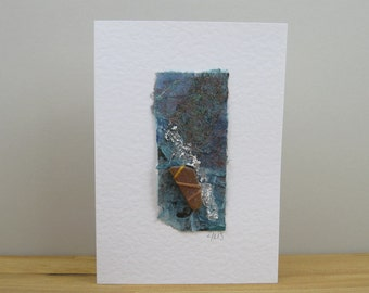Seashore Art Card with brown sea glass