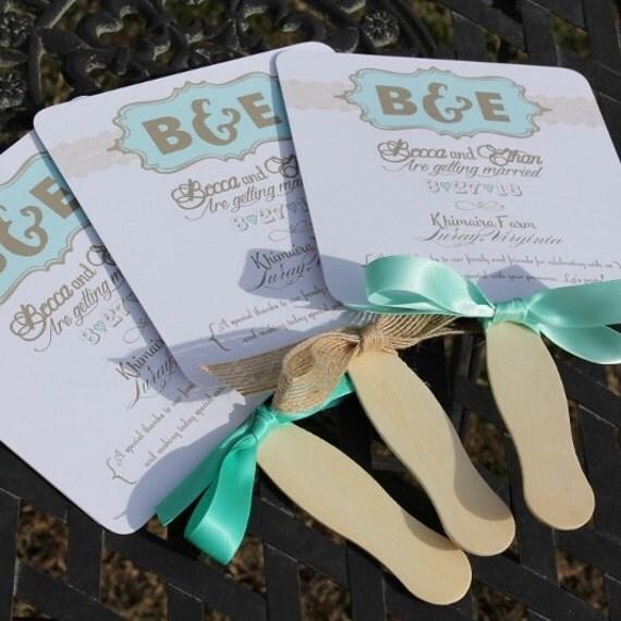 60 Beach Burlap Wedding Fan Programs Beach Wedding Fan