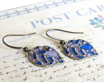 Brass Leaf Earrings, Enameled Earrings, Vintage Style Earrings