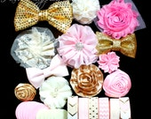 Light Pink and Gold and Ivory Headband Kit - Makes 12 Headbands - Baby Shower Station, Baby Headbands, DIY Headbands, Headband Kit
