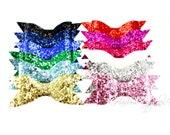 Thin Glitter Bows 4 inch - Glitter Hair Clip, Glitter Hair Bow, Glitter Bows, Glitter Bow Headband, Glitter Bow Tie, Glitter Bows for Girls