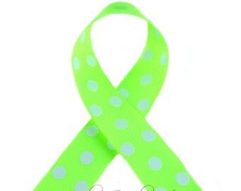 Neon Yellow Polka Dots 7/8 inch Polka Dot Grosgrain Ribbon - Polka Dot Ribbon, Polka Dot Hair Bow, Polka Dot Bow, Ribbon By The Yard