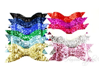 Thin Glitter Bows 4 inch - Glitter Hair Bow, Glitter Bows, Glitter Bow Headband, Glitter Bow Tie, Glitter Bows for Girls