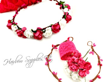 DIY Hot Pink Floral Crown Kit - DIY Hot Pink Flower Crown, Fuchsia Wedding Flower Crown, Hot Pink Floral Halo