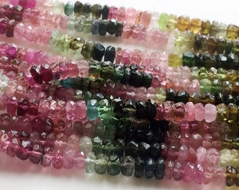 Multi Tourmaline Faceted Rondelle Beads, Multi Tourmaline Necklace, 4-4.5mm Beads, 7 Inch Strand - RAM13