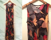 90s Grunge Black Red Floral Rayon Bias Cut Slinky Sleeveless Maxi Dress size Small