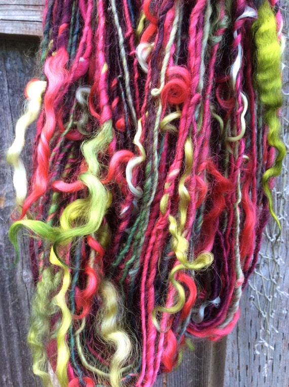 Knitting Patterns For Wensleydale Wool : HANDSPUN Yarn Wensleydale Wool Thick and Thin Yarn with Locks